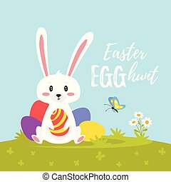 Vector  cartoon style illustration of Easter day greeting card with cute bunny sitting on the meadow with pile of colorful eggs.        Easter egg hunt text.