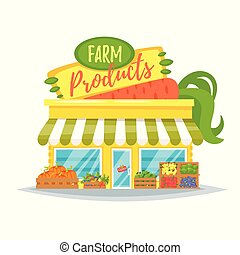 farm product shop facade - Vector cartoon style illustration...