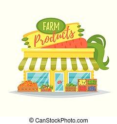 farm product shop facade - Vector cartoon style illustration...