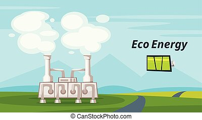 geothermal power plant - Vector cartoon style illustration...