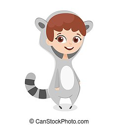 Vector cartoon style illustration of girl in costume raccoon. Isolated on white background.