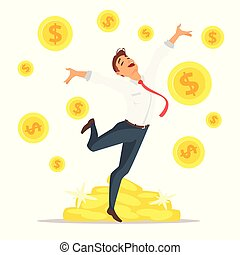 businessman jumping with happiness