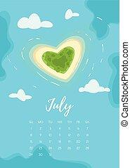 July 2018 year calendar page - Vector cartoon style...