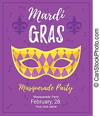 Mardi Gras poster for masquerade