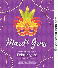 Mardi Gras poster for masquerade - Vector cartoon style...