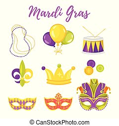 illustration of Mardi Gras symbols