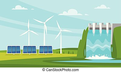 wind mill and solar panels