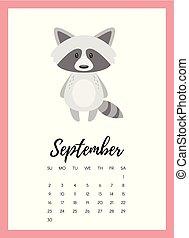 September 2018 year calendar page