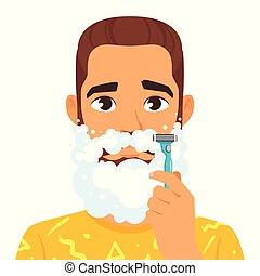 shaving man with beard