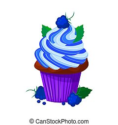Vector cartoon style illustration of sweet cupcake. Delicious sweet dessert decorated with creme and blackberry. Muffin isolated on white background.