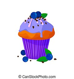Vector cartoon style illustration of sweet cupcake. Delicious sweet dessert decorated with creme, chocolate and blueberry. Muffin isolated on white background.