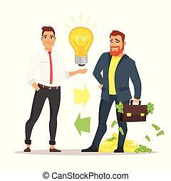 businessman offering an idea