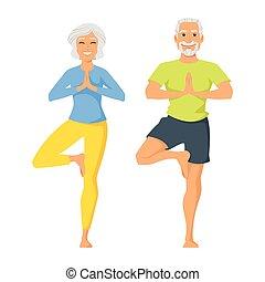 happy senior man and woman doing yoga