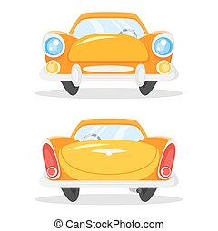 Vector cartoon style illustration of vintage old yellow car. Back and front view.