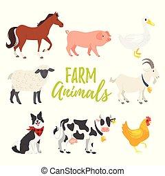set of farm animals - Vector cartoon style illustration set...