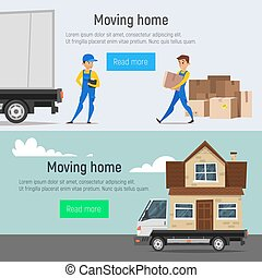 Vector cartoon style moving home banners of loaders movers man