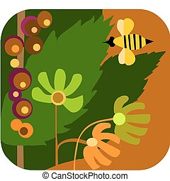 cartoon style of a sunny garden with flowers and bees, vector illustration