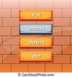 Vector cartoon style orange stone buttons