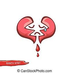vector cartoon style red broken heart