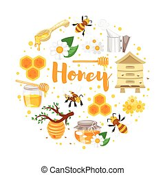 round composition of honey