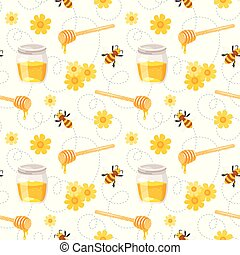 pattern with flying bees, honey