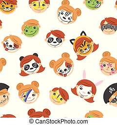 Pattern With Kid Painted Faces