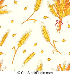 seamless pattern with wheat cereals