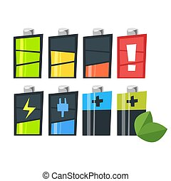 Vector cartoon style set of batteries. Icon for web.