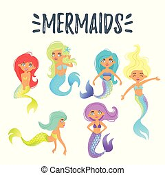 set of cute mermaid character