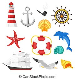 Vector cartoon style set of sea objects. Icon for web