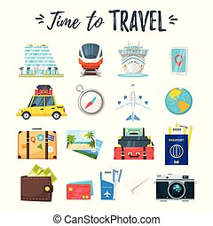 travel and tourism icons - Vector cartoon style set of...