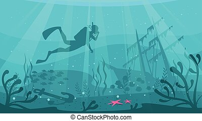 Scuba Diver explores ship wreckage - Vector cartoon style...