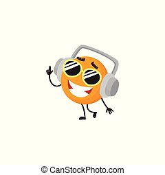 Vector cartoon summer fruit character orange