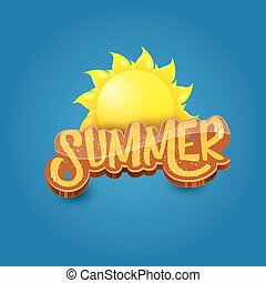 vector cartoon summer label paper art syle on blue sky background with orange sun. Summer beach party poster design template.