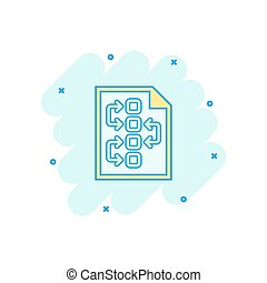 Vector cartoon tactical plan document icon in comic style. Strategy concept illustration pictogram. Document business splash effect concept.