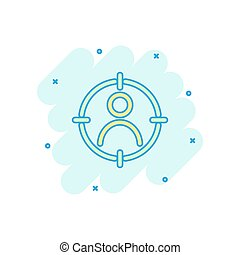 Vector cartoon target audience icon in comic style. Marketing target strategy concept illustration pictogram. Aim on people splash effect concept.