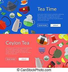Vector cartoon tea kettles and cups web banner templates illustration