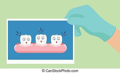Vector cartoon teeth feel shock because gingivitis blood...