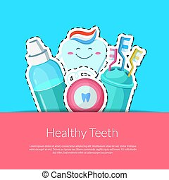 Vector cartoon teeth hygiene stickers
