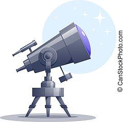 Vector cartoon telescope