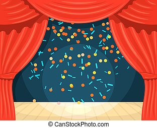 Vector Cartoon theater with open curtain and rays of spotlights, falling confetti. Color