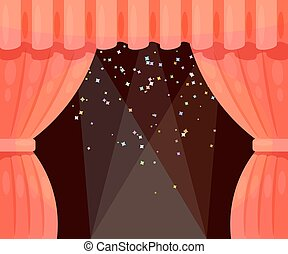 Vector Cartoon theater with open curtain and rays of spotlights, falling stars. Color