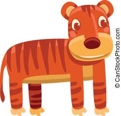 Vector cartoon tiger - funny character