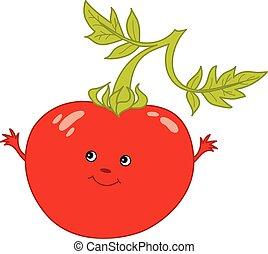 Vector Cartoon Tomato with Smiley Face