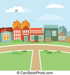 Vector cartoon town - abstract landscape with houses in ...