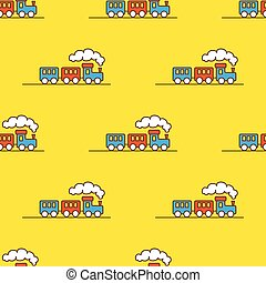 Vector cartoon toy seamless pattern. Little steam train background.