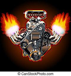 Vector Cartoon Turbo Engine - Cartoon Turbo Engine....