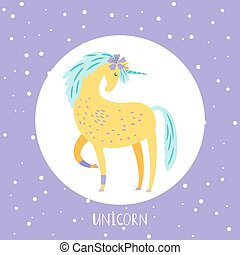 Vector cartoon unicorn card design in round