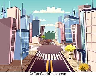 Vector cartoon urban crossroad concept