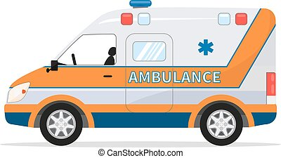 Vector cartoon van medical car, ambulance vehicle